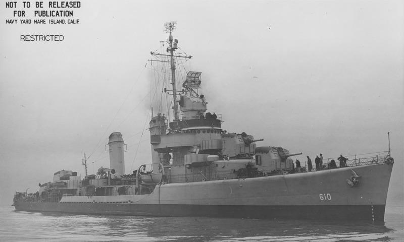 USS Hobby, DD 610, Mare Island, 26 January 1943.))