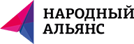 "A paper plane, colored pink and purple, and a text saying ""НАРОДНЫЙ АЛЬЯНС"" to the right of it, over a white background"