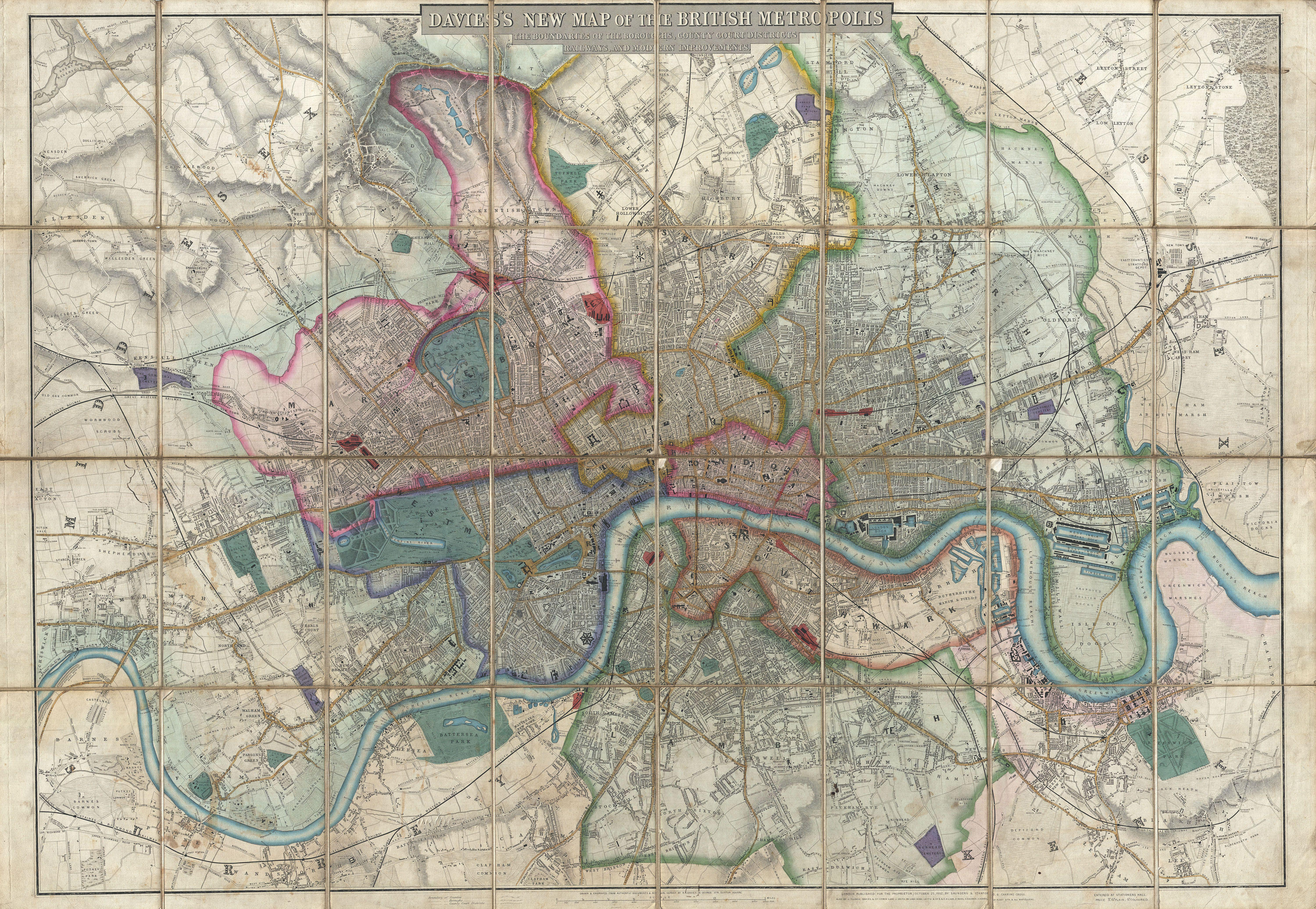 Map Of London England File:1852 Davies Case Map or Pocket Map of London, England  Map Of London England