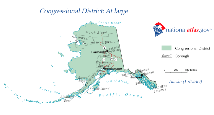 Alaskas At Large Congressional District Wikipedia - Us-house-of-representatives-map-by-state