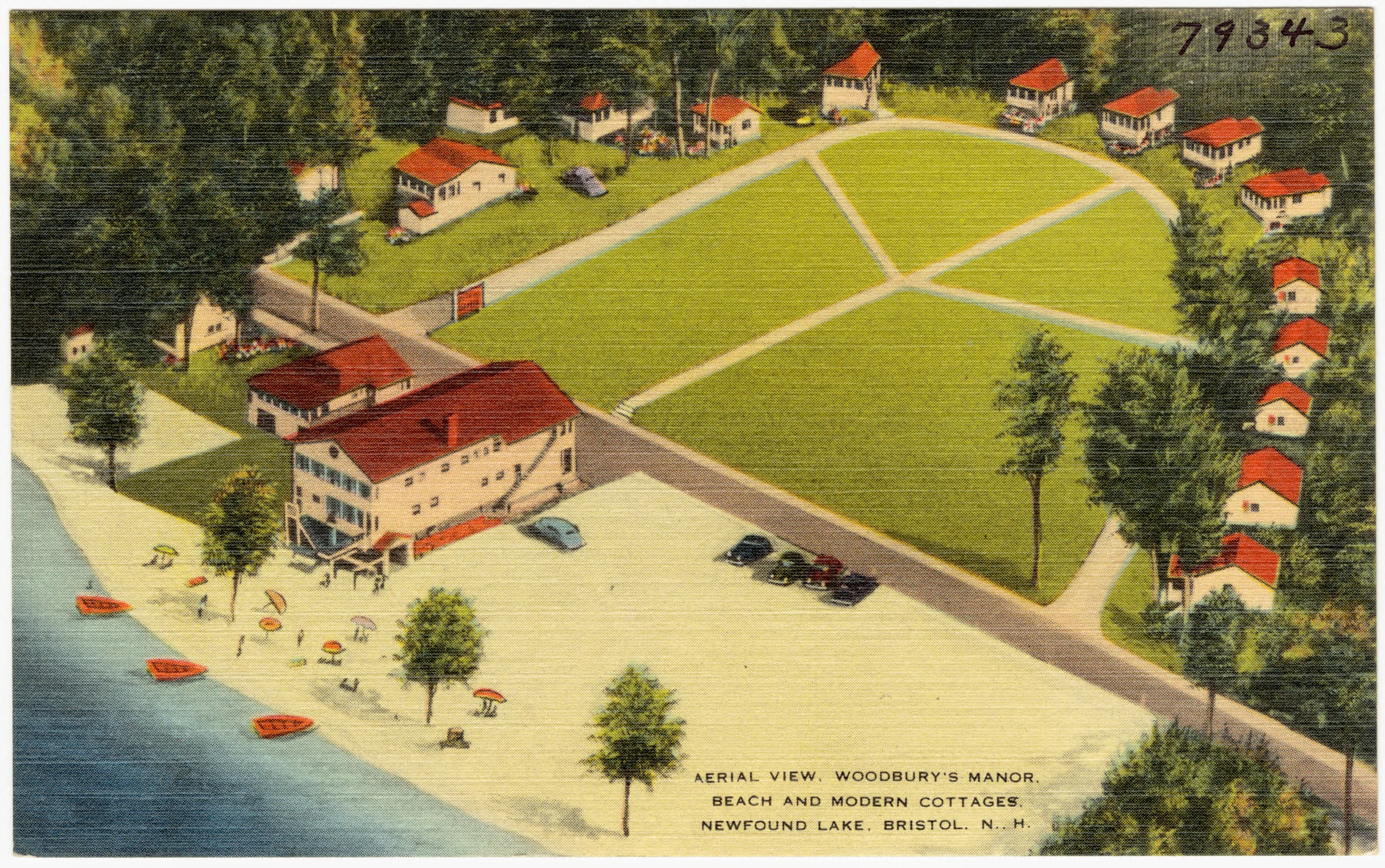 File Aerial View Woodbury S Manor Beach And Modern Cottages Newfound Lake