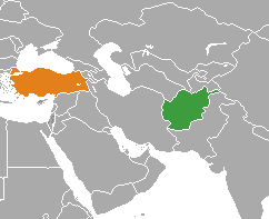 Map indicating locations of Afghanistan and Turkey