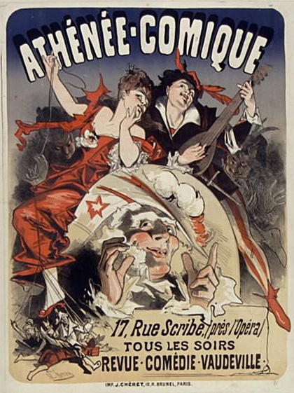 Poster by Jules Cheret (1876) Athenee-Comique-1876.jpg