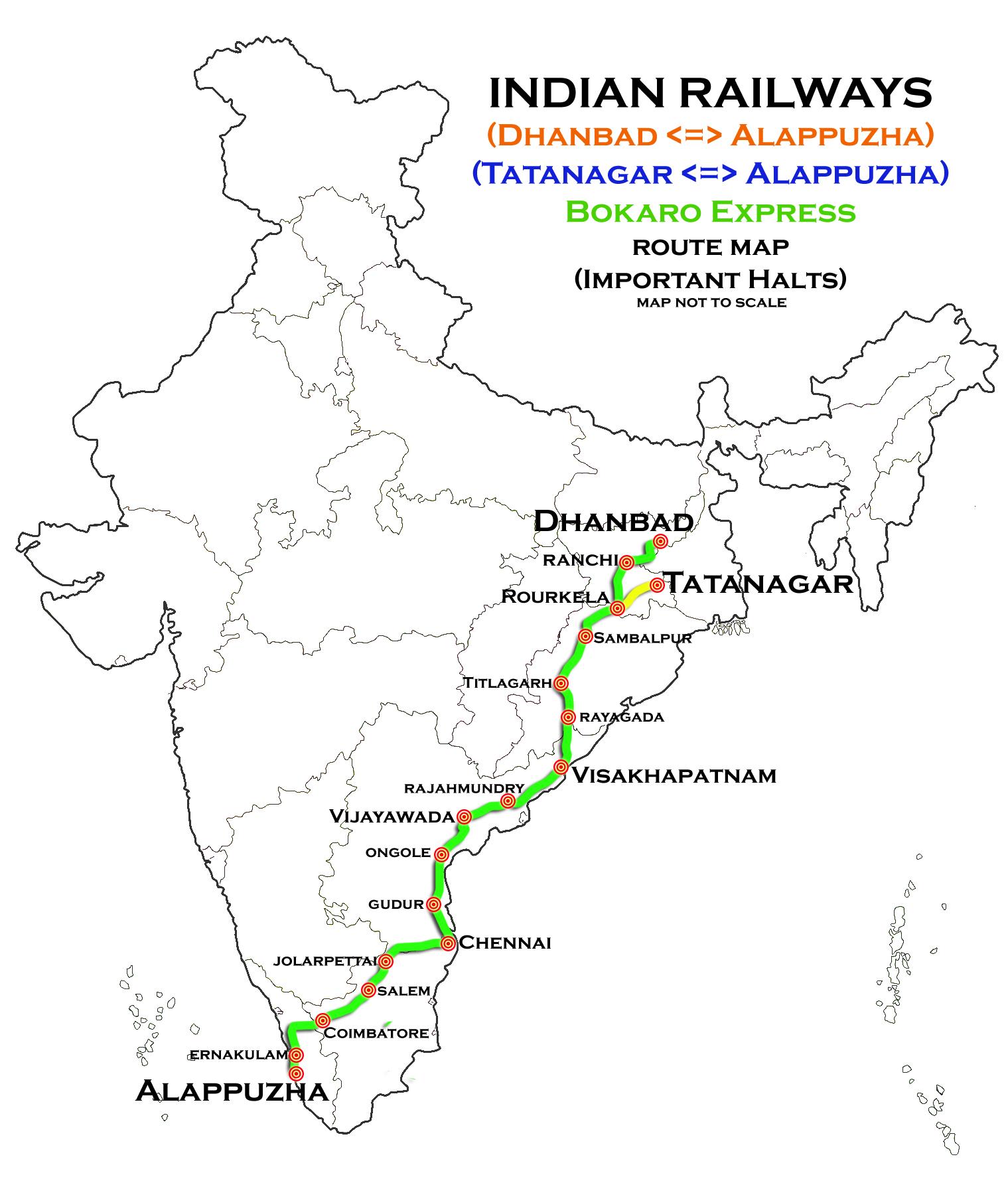 FileBokaro Express Dhanbad Alappuzha And Tatanagar - Dhanbad map