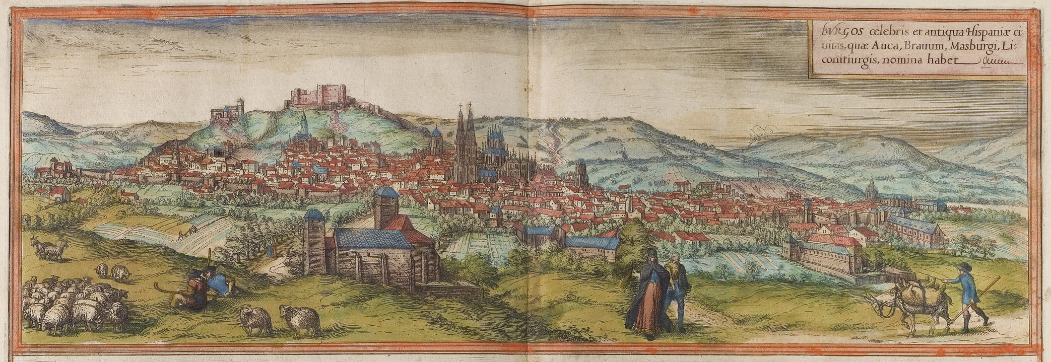 Ilustración de Burgos en el siglo XVI, que figura en el Civitates orbis terrarum.