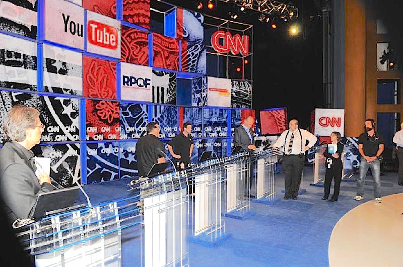 The stage for the second 2008 CNN-YouTube presidential debate.