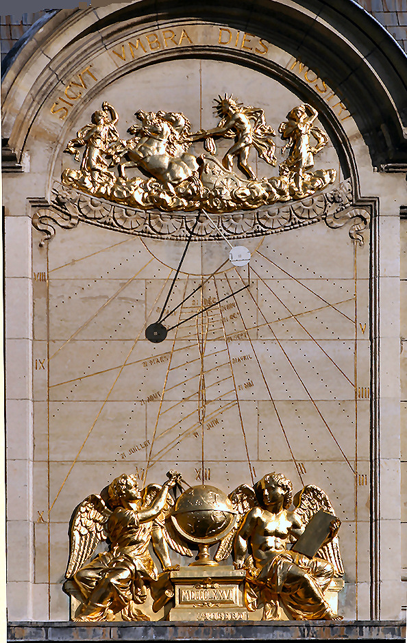 Jean Picard sundial on the pediment of the Sorbonne