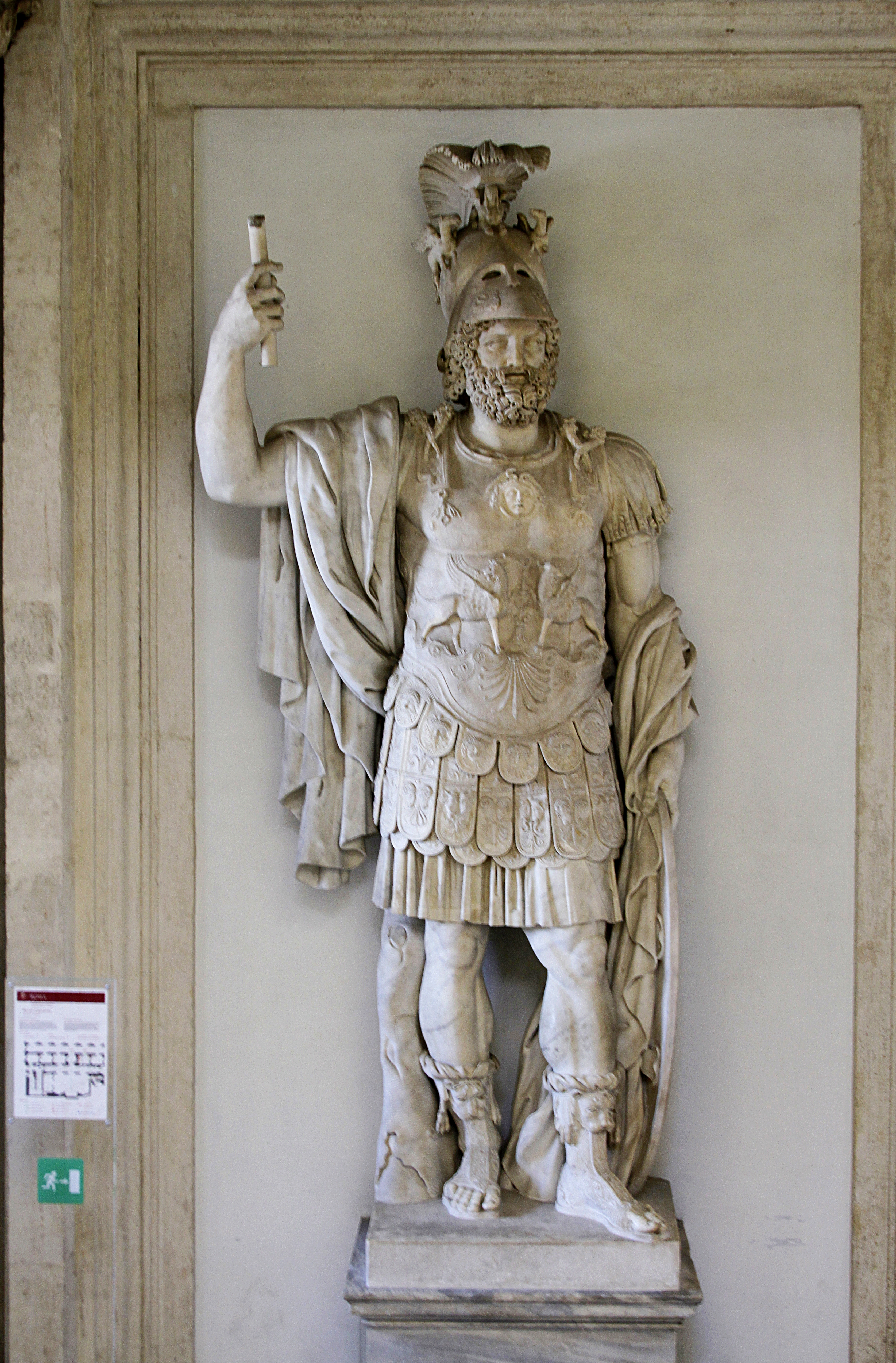 96503d0f6ed Marble statue of Mars from the Forum of Nerva, wearing a plumed Corinthian  helmet and muscle cuirass, 2nd century AD
