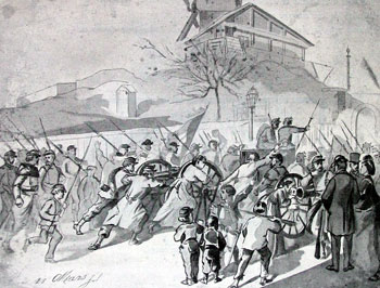 A contemporary sketch of women and children helping take two National Guard cannons to Montmartre Communecannon.jpg