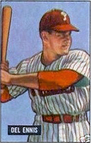 Ennis' 1951 Bowman Gum baseball card