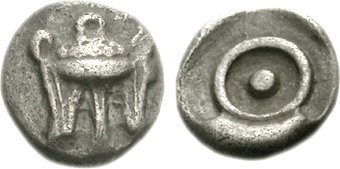 Coin (obol) struck at Delphi, 480 BC. Obverse: Short tripod. Reverse: Pellet within circle (omphalos or phiale). Delphi-01.jpg