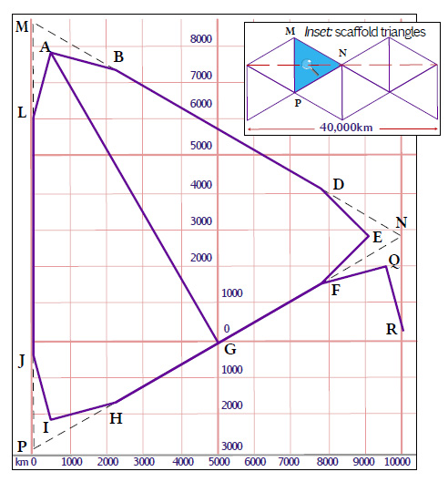 Diagram by Duncan Webb showing the construction of one octant of a Cahill-Keyes projection Diagram to Aid Construction of Cahill-Keyes Projection.jpg