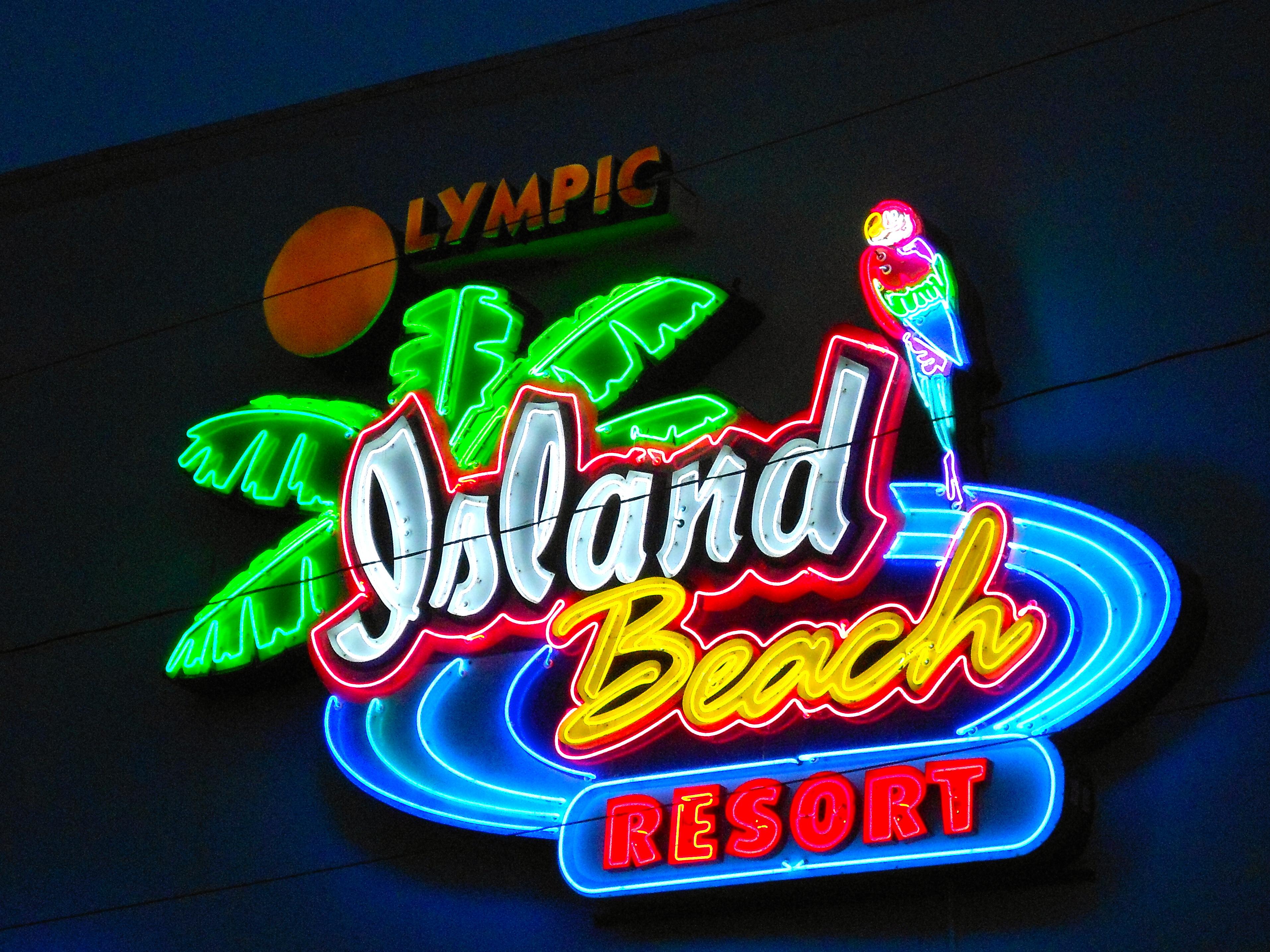 Neon Island Beach Resort Sign Vector