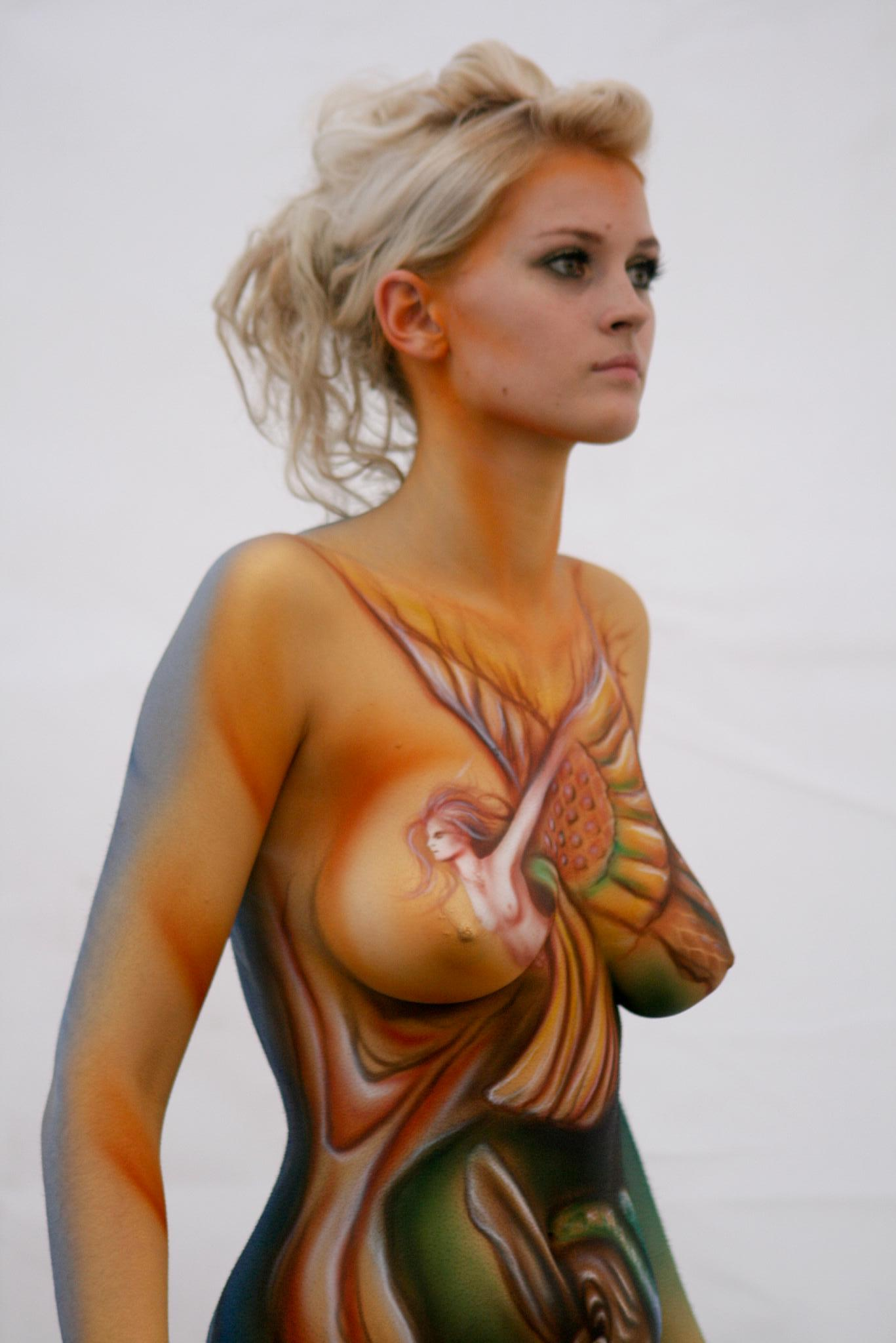 Female nude body paint
