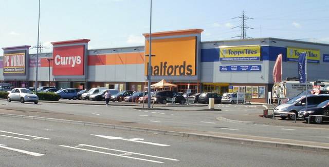 English: Four retailers, Newport Road, Cardiff...