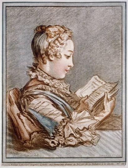 Gilles Demarteau - Buste de jeune femme lisant Héloïse et Abélard