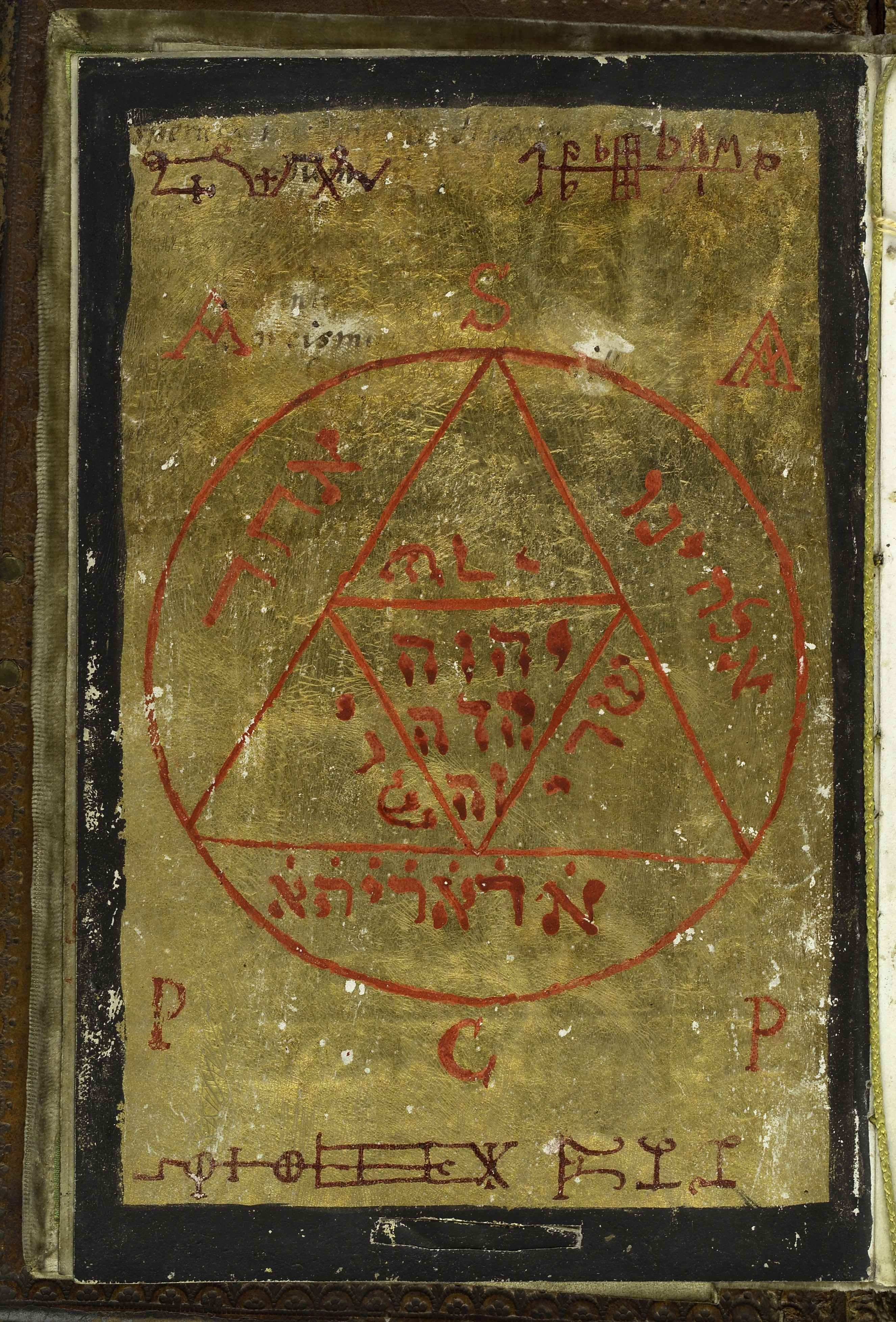 Illustration showing a Gold seal - five trianges inside a circle with alchemical/magical symbols inside and outside the shape. From Cyprianus, 18th century. Cyprianus is also known as the Black Book, and is the textbook of the Black School at Wittenburg, the book from which a witch or sorceror gets his spells. The Black School at Wittenburg was purportedly a place in Germany where one went to learn the black arts.