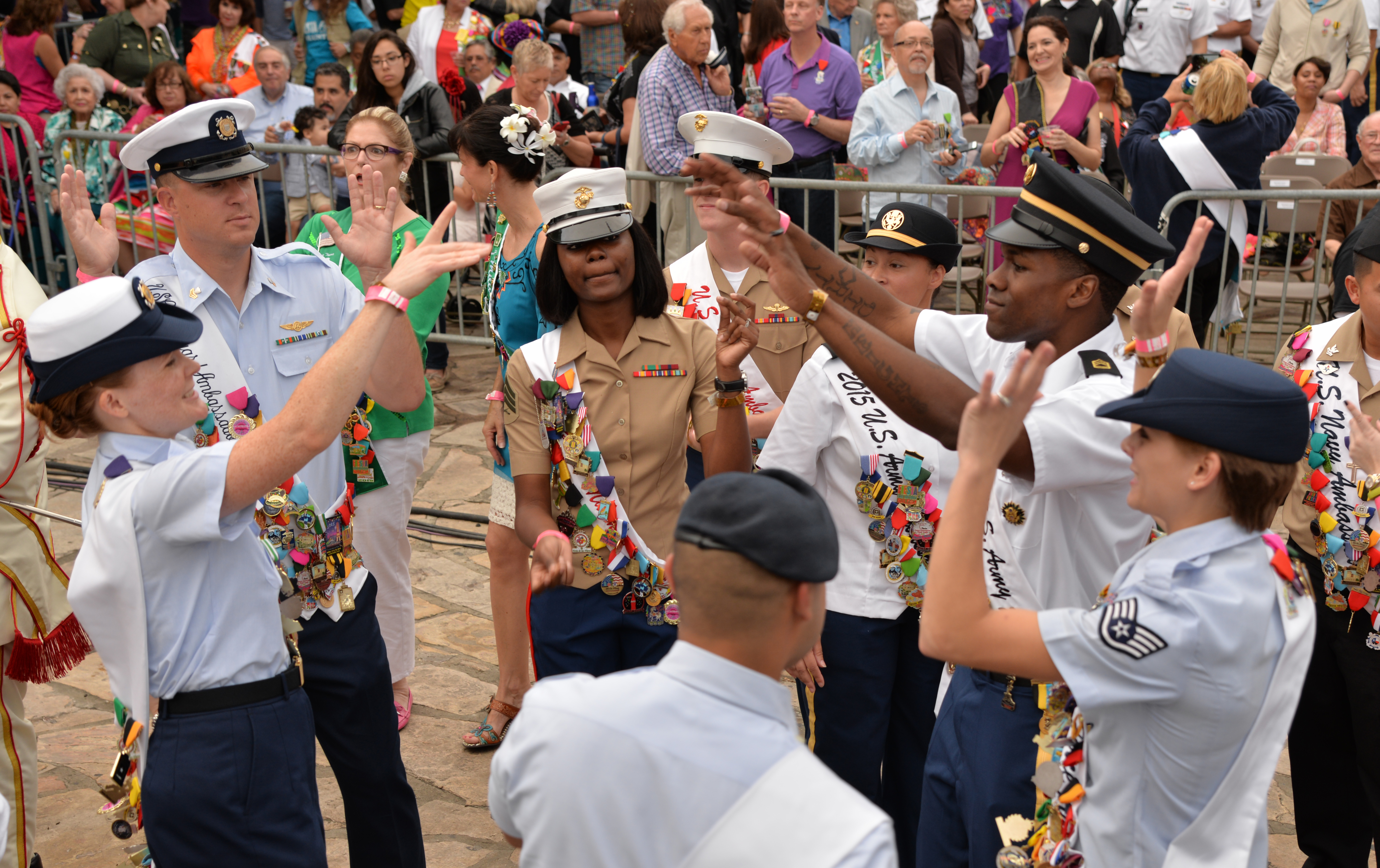 File Joint Base San Antonio Military Ambassadors Join Fiesta Royalty