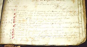Records of the Recoleta Cemetery about the burial of Juan Baustista Tupac Amaru, proposed as King of the United Provinces of South America. Juan Baustista Tupac Amaru.jpg