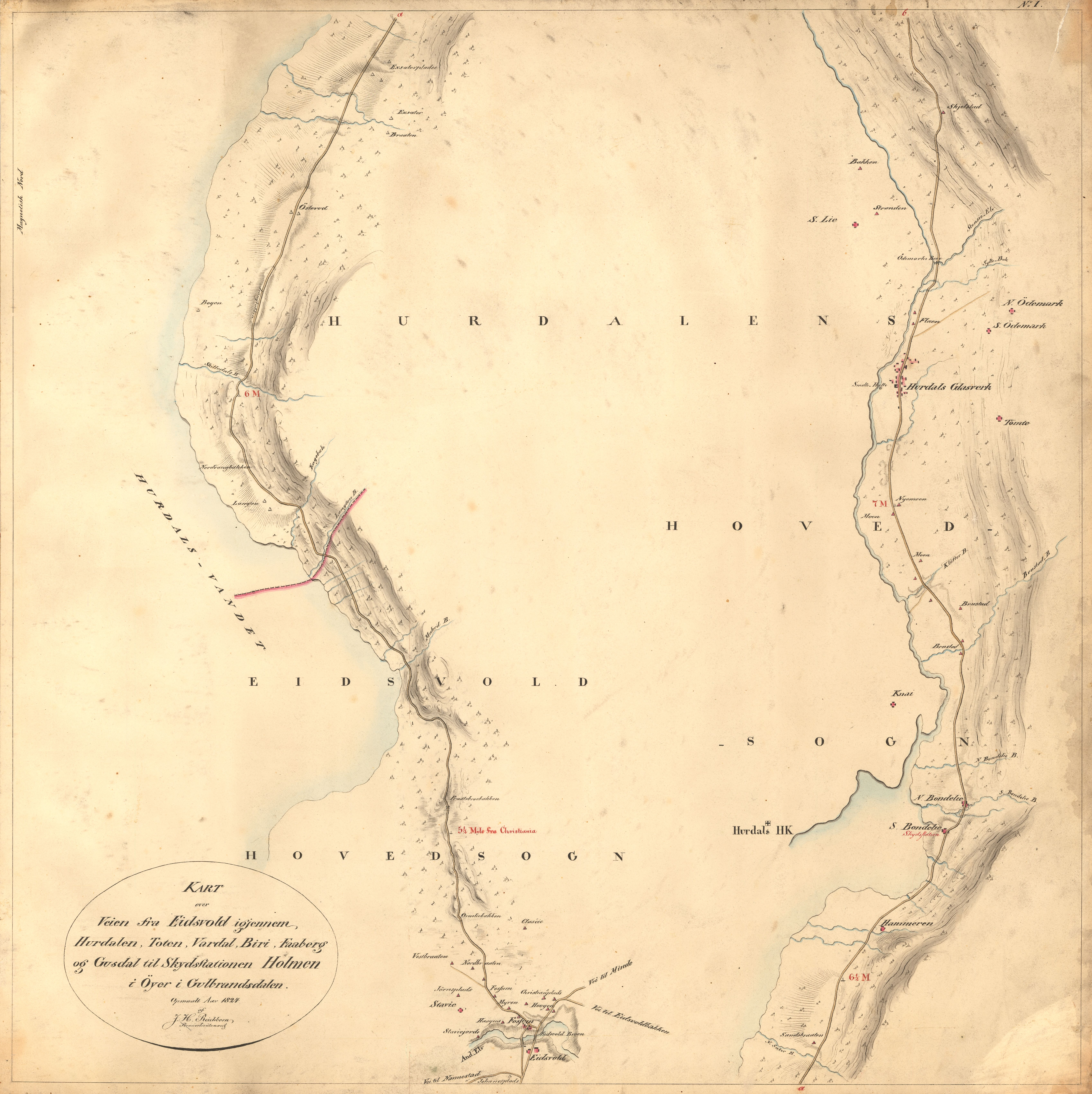 kart over hurdal File:Kartblad 1  Kart over Veien fra Eidsvold igjennm Hurdalen  kart over hurdal