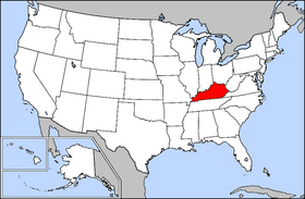 Map of the United States with Kentucky highlighted