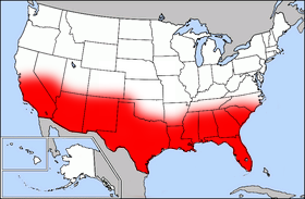 The Sun Belt, highlighted in red