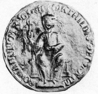 Matilda's great seal, the image possibly an accurate likeness of Matilda herself MatyldaAnglie.jpg