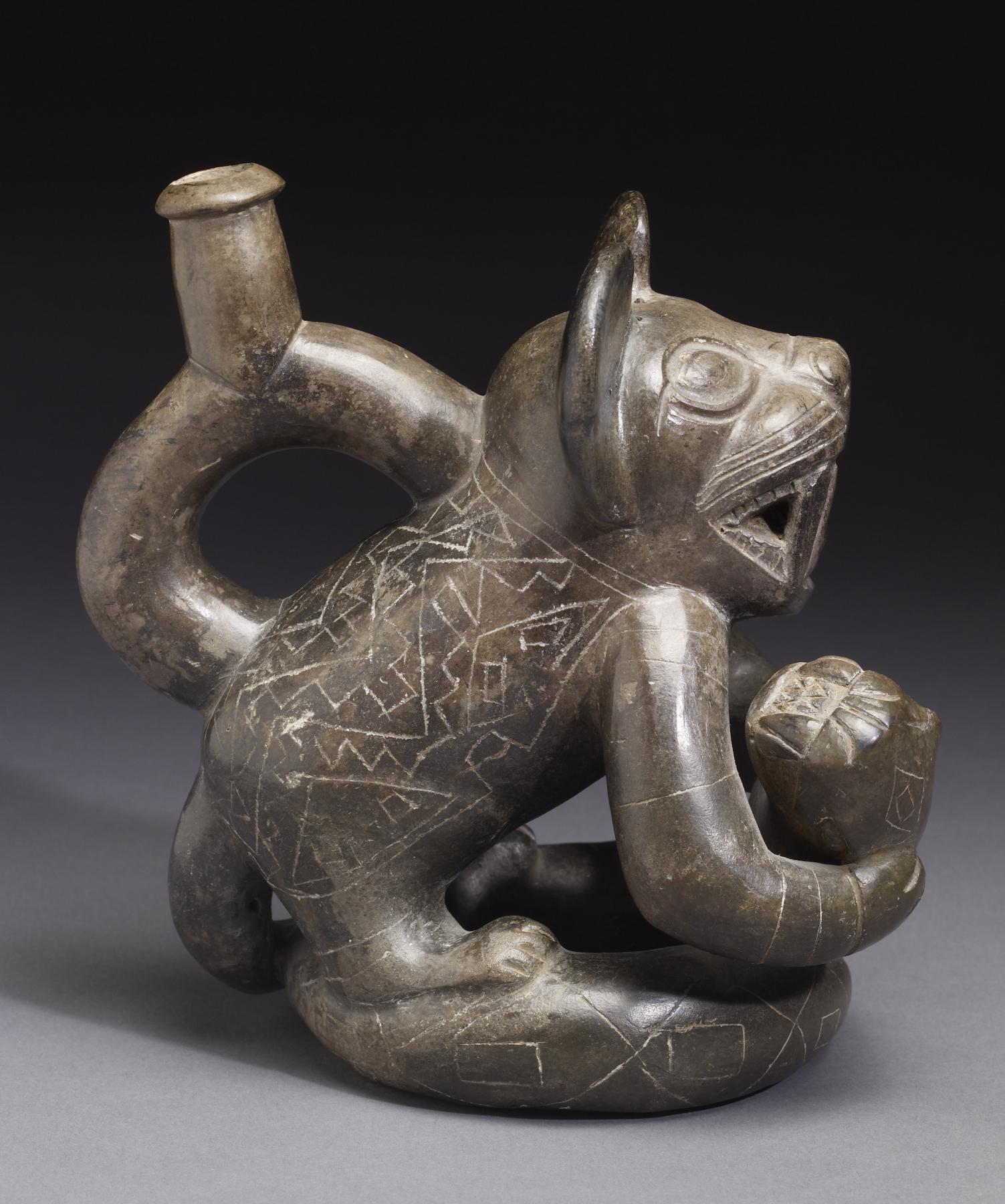 filemoche feline effigy stirrup vessel walters 482843