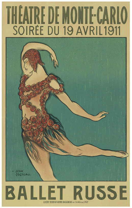 Poster for Ballet Russe featuring Nijinsky, designed by Jean Cocteau in 1911