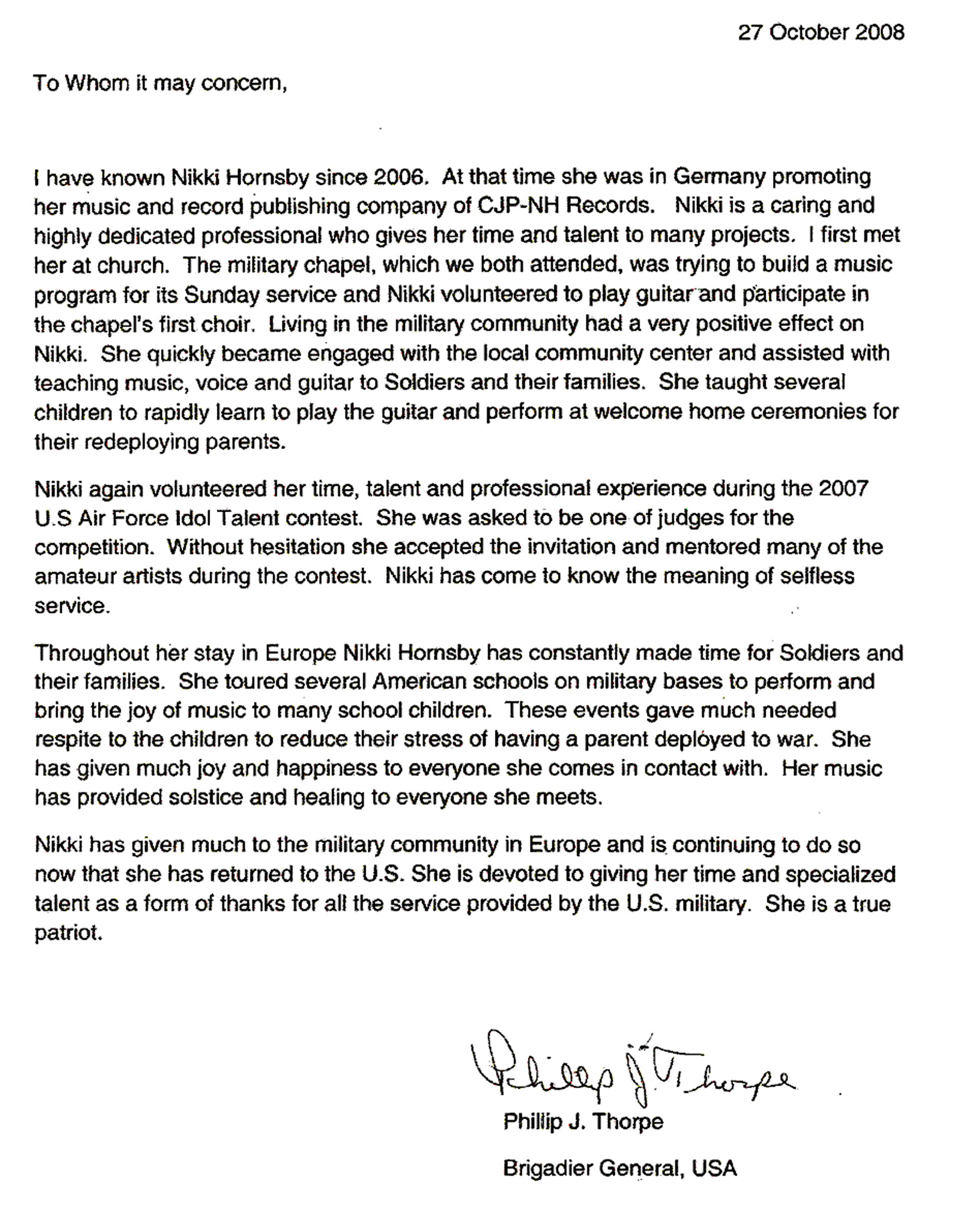 Captivating File:Nikki Hornsby   Military Recommendation Letter