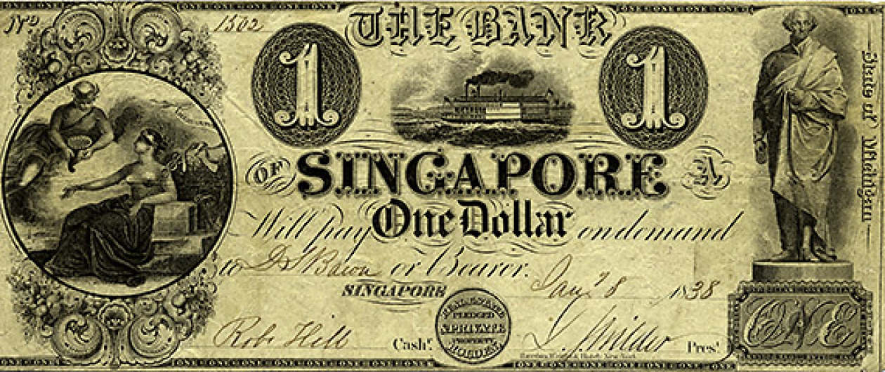 File:One Dollar note from Singapore, Michigan jpg