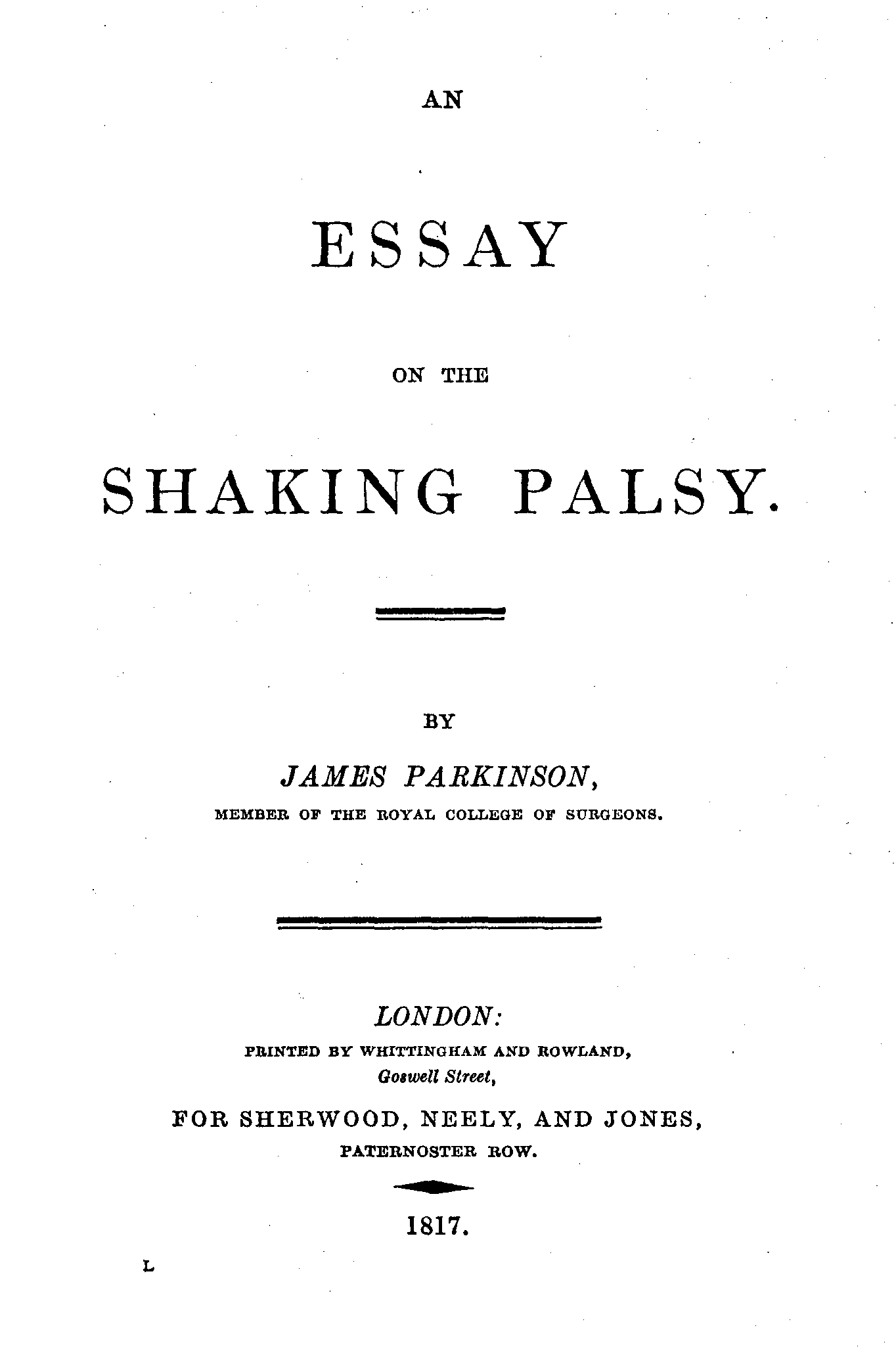 Essay Title Page Mla Parkinson An Essay On The Shaking Palsy (title Page) Essay Title Page Mla