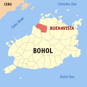 Map of Bohol showing the location of Buenavista