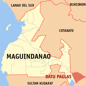 Map of Maguindanao showing the location of Datu Paglas