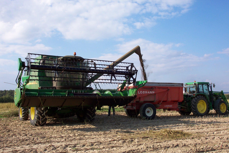 Industrial hempseed harvesting machine in France.