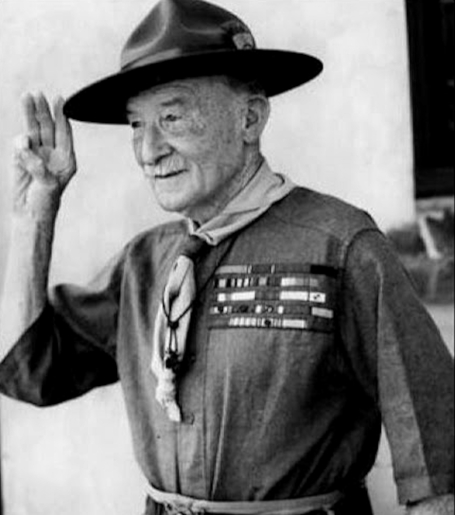 Baden Powell performing the scout salute