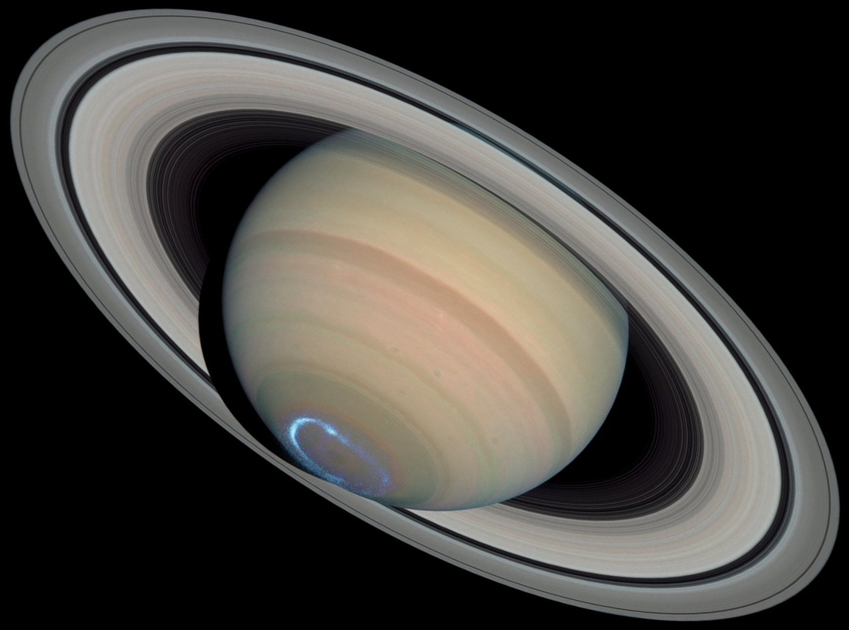 File Saturn With Auroras Cropped Jpg Wikimedia Commons