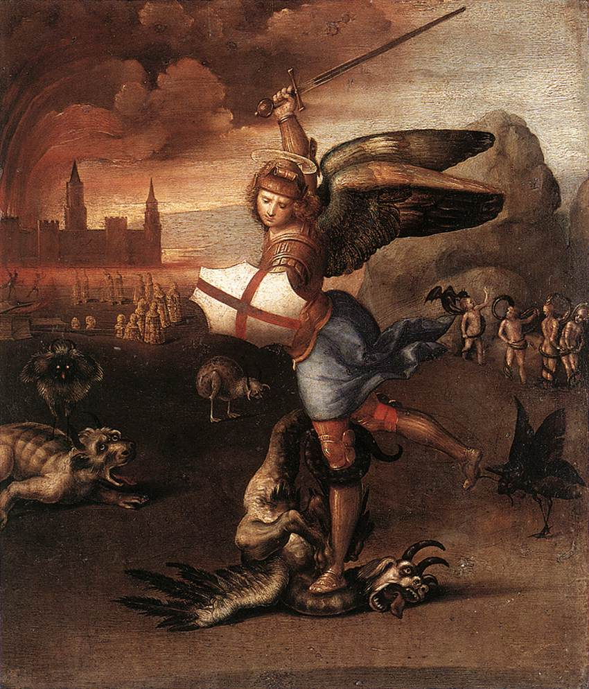 RAFFAELLO Sanzio St Michael and the Dragon c1505