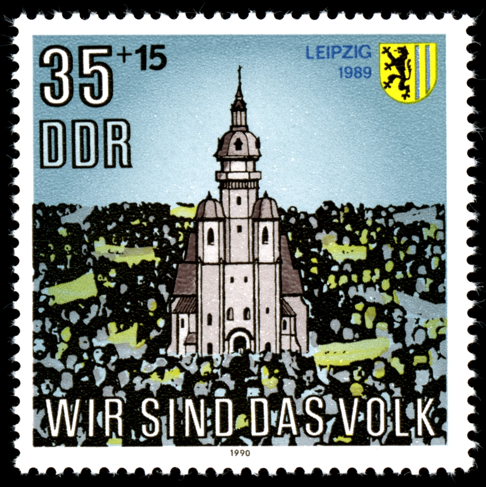 Bundesarchiv Bild 183-1989-1023-022, Leipzig, Montagsdemonstration Stamps_of_Germany_%28DDR%29_1990%2C_MiNr_3315