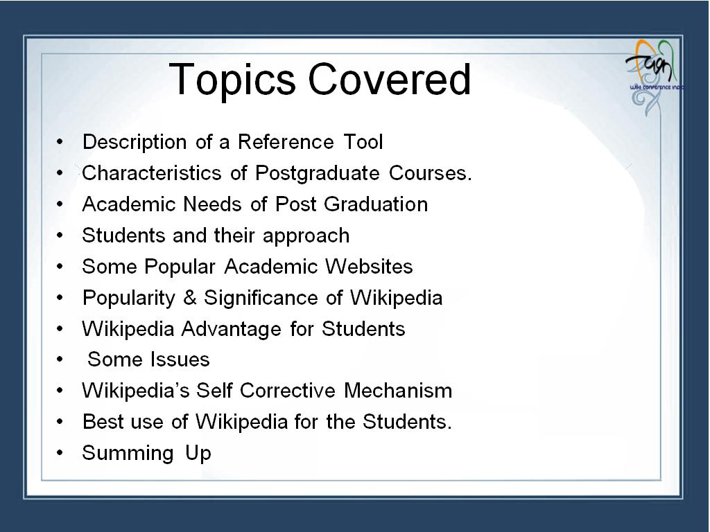 best topics for presentations presenters n presenters s hopkins file summary slide of the topics in one of the wiki conference file summary slide of
