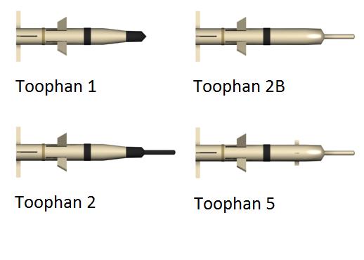 عائلة صواريخ طوفان الايرانيه المضاده للدروع  Toophan