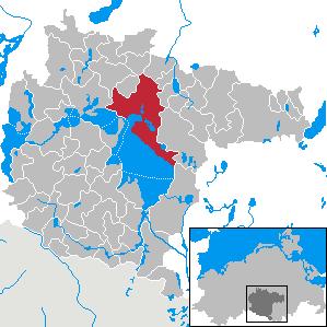 Lage der Kreisstadt Waren im Landkreis Müritz