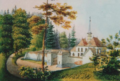 Летний Приорат в Гатчине (1797—1799), литография XIX века.