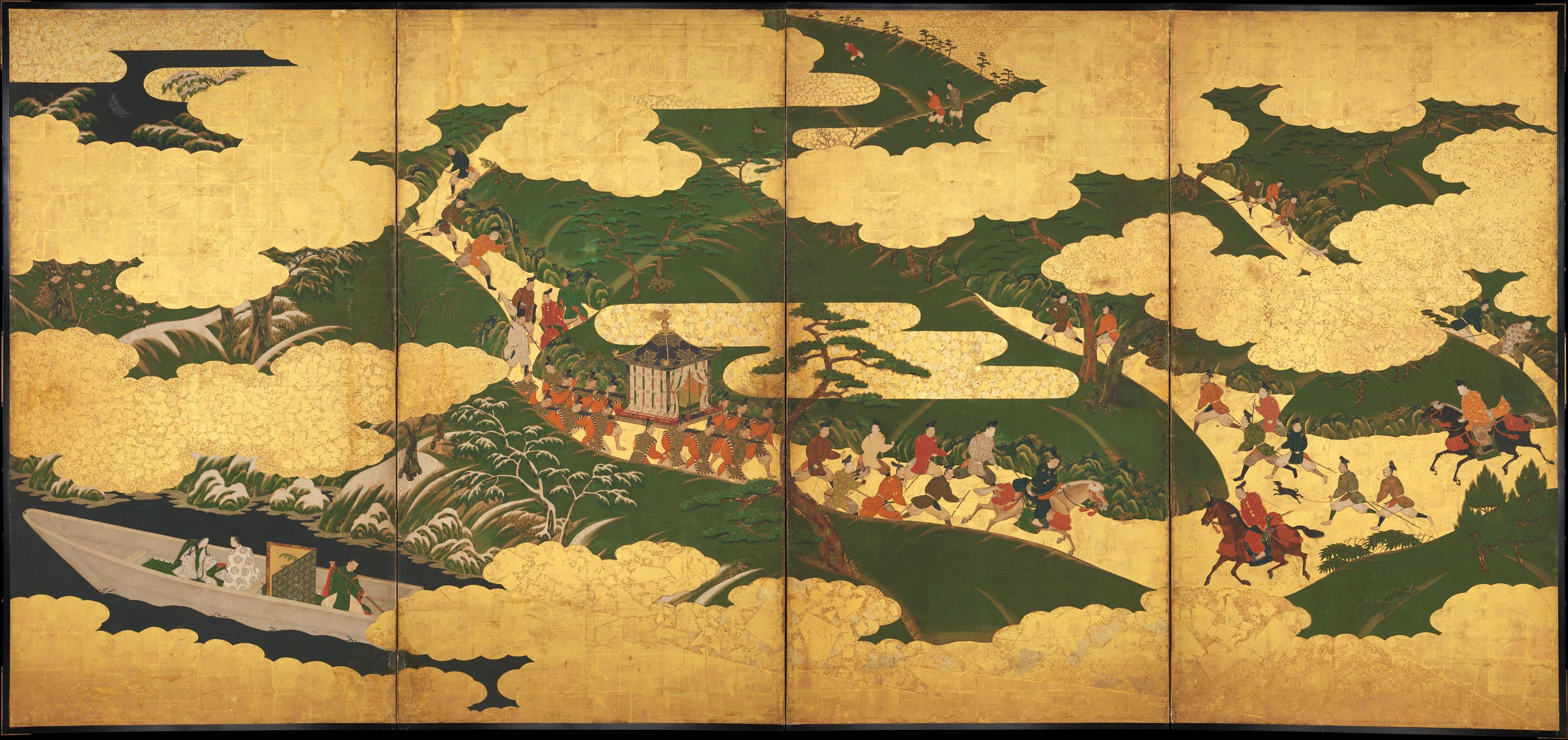 Datei:源氏物語図屏風「御幸」・「浮船」・「関谷」-Scenes from The ...