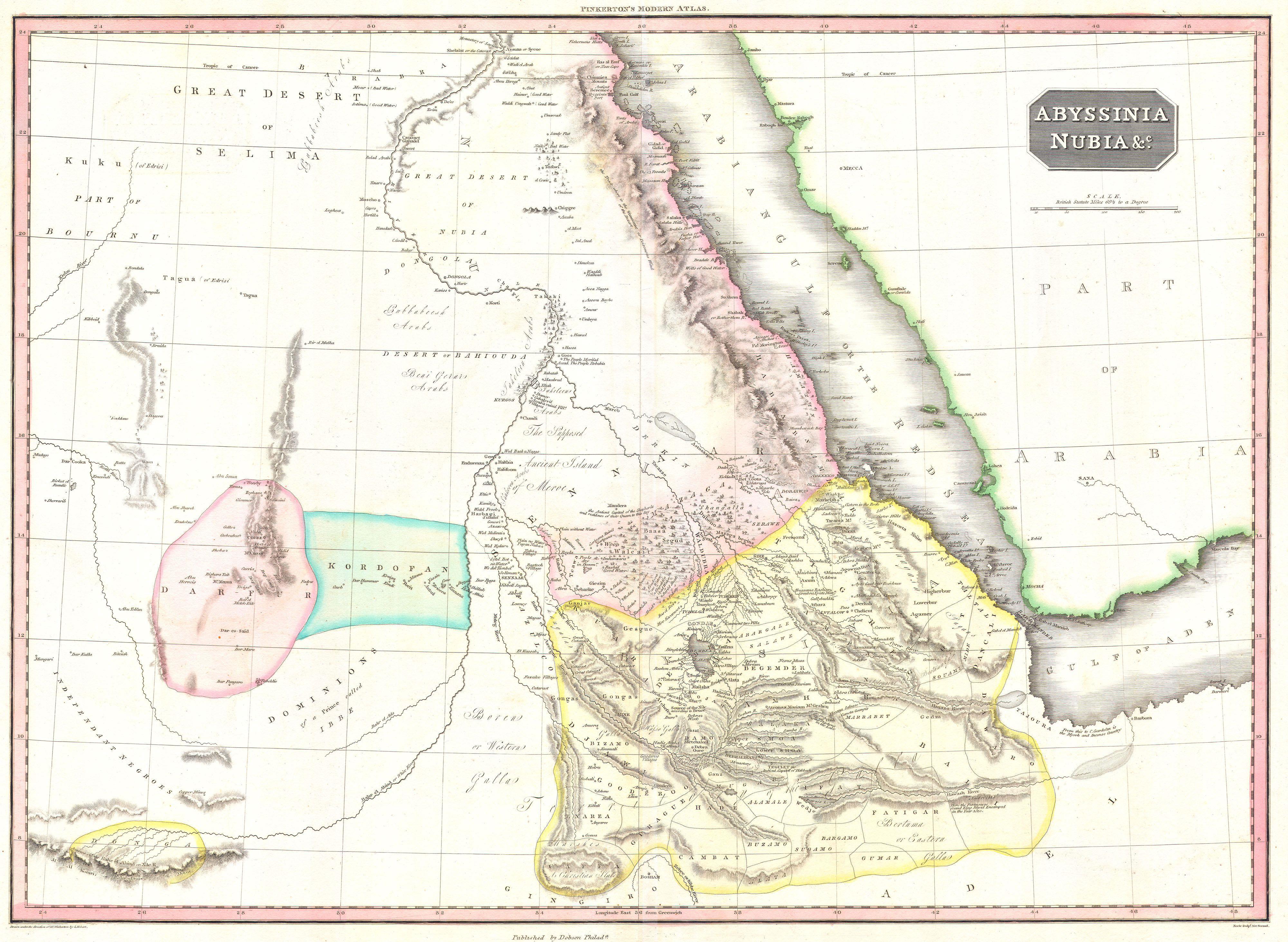 File:1818 Pinkerton Map of Abyssinia ( Ethiopia ), Sudan ^ Nubia
