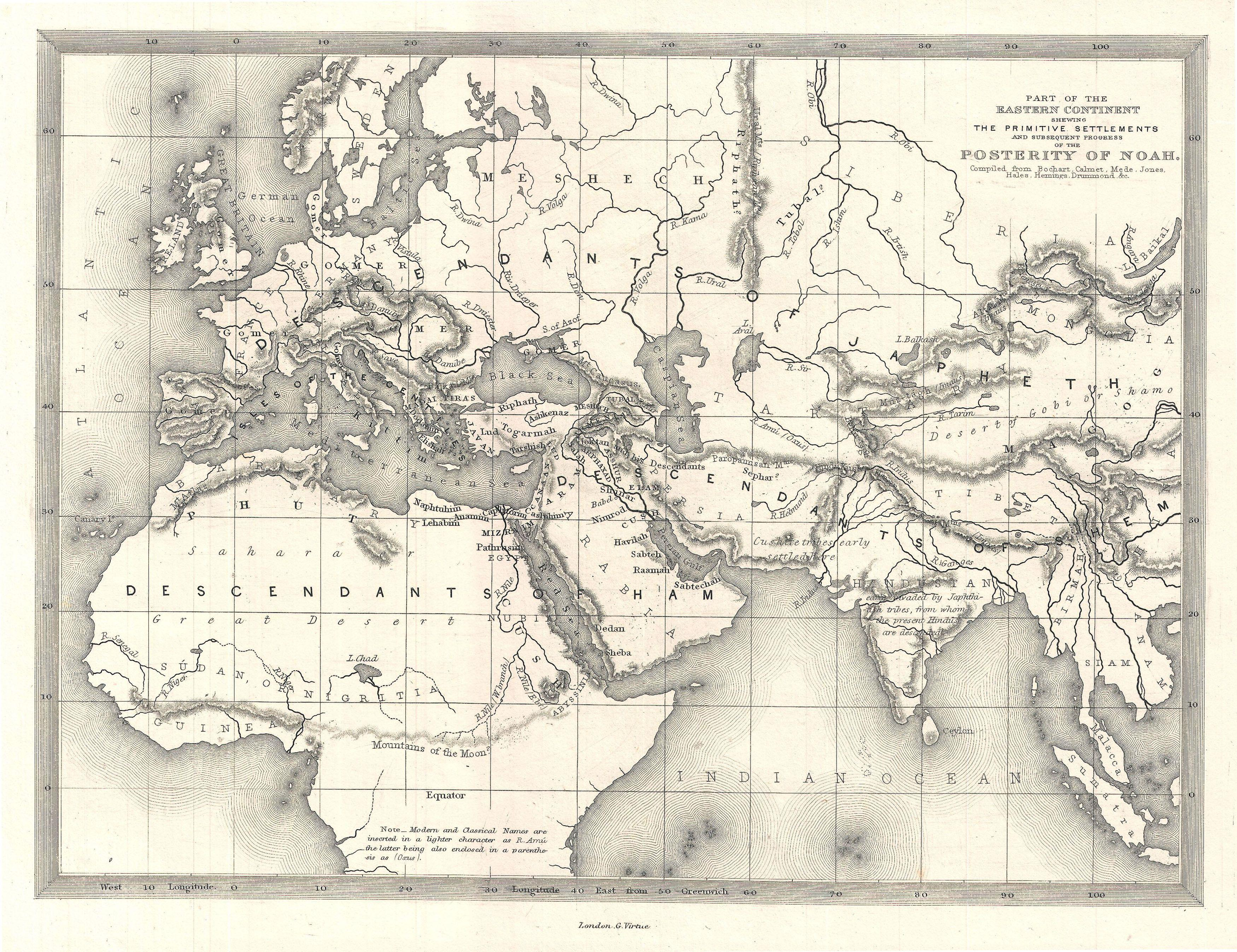 File 1850s Map Of The World Of The Biblical Noah Geographicus