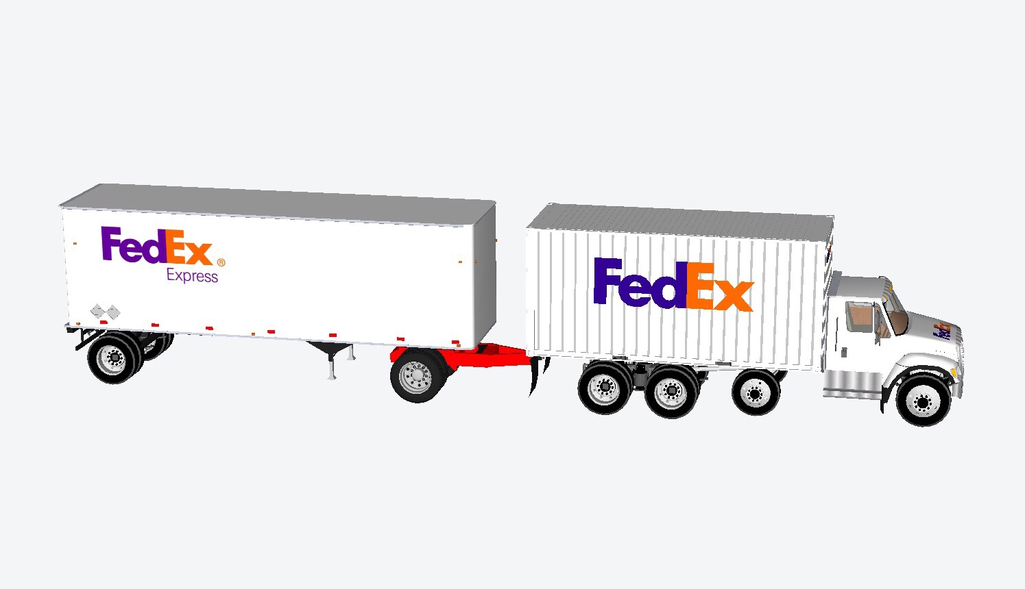 20 foot container straight truck with 28 5 foot pup trailer