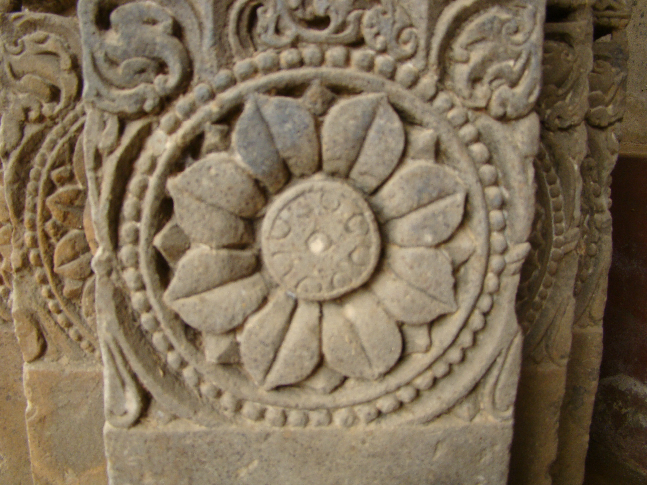 File a stone carved in the shape of flower at abhaneri