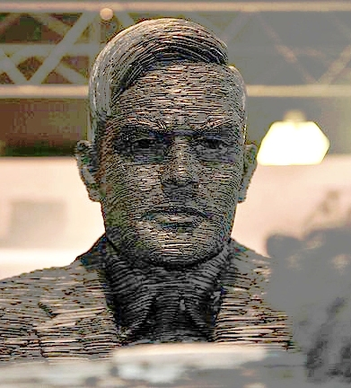 Estatua de Alan Turing en Bletchley Park.