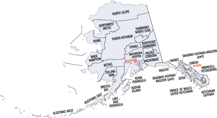 Carte des boroughs et des census areas de l'Alaska